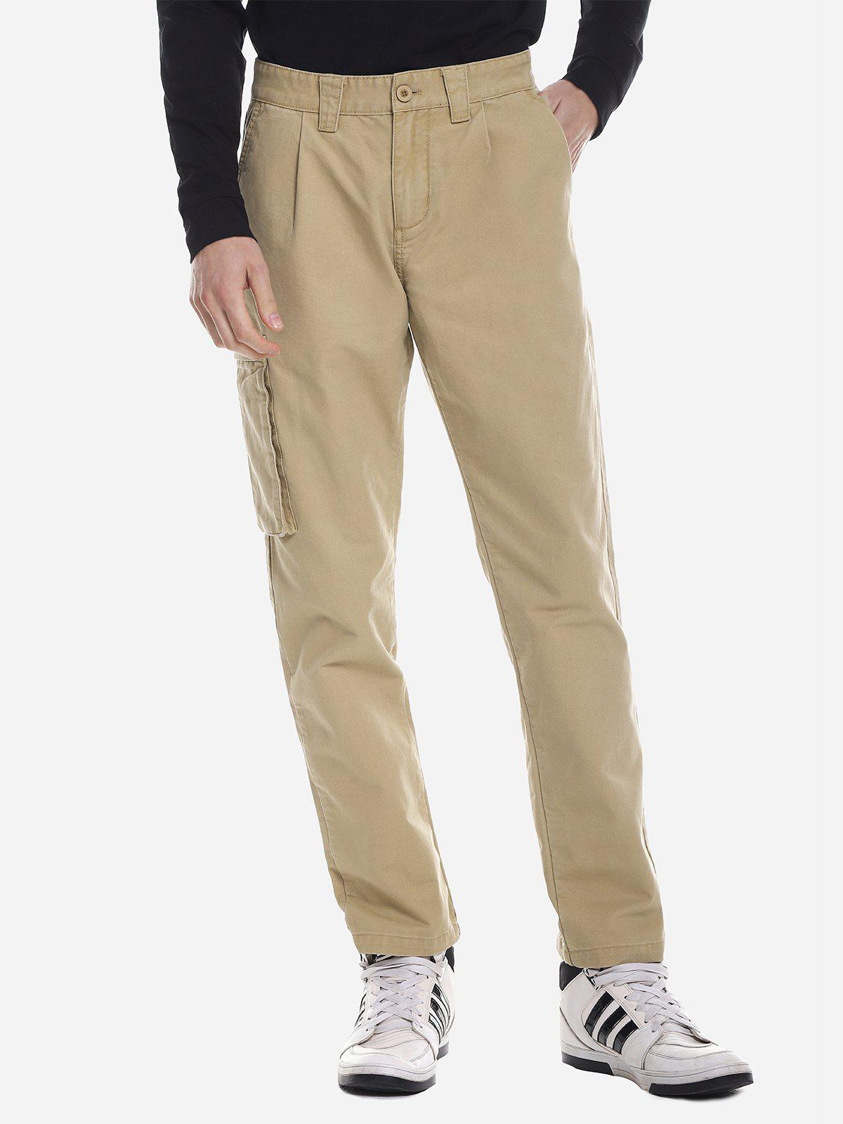 ZANSTYLE Men Side Pocket Belted Pants - KHAKI 40