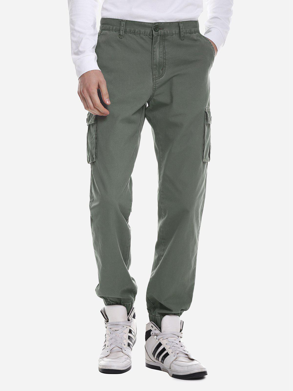 ZAN.STYLE Men Slim Cargo Pants - ARMY GREEN 36
