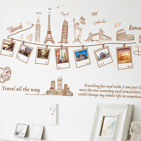 Modern Style Wall Sticker Travel Photos Bedroom Living Room Decorative Wallpaper - BROWN