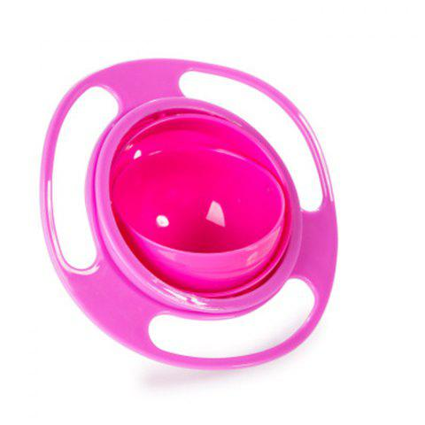Creative Baby Feeding Bowl 360 Degree Rotatable Funny Toy Non-spill Universal Gyroscope UFO Dish - ROSE RED