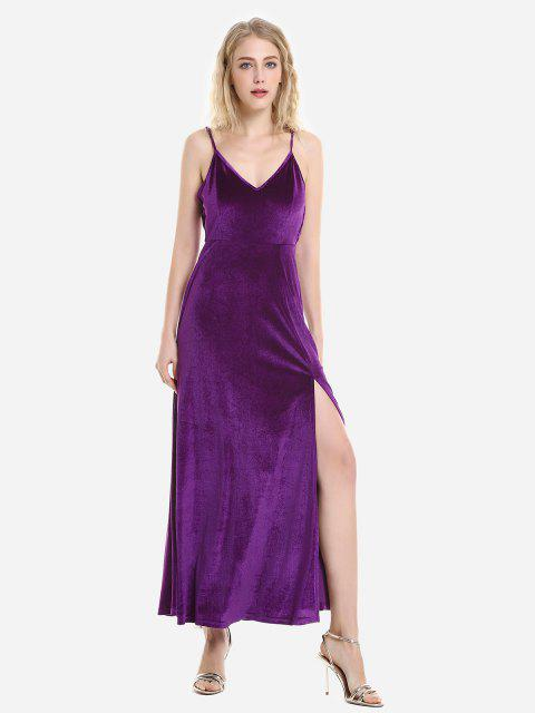 ZAN.STYLE Velvet Strip Robe Slip réglable - Pourpre XL