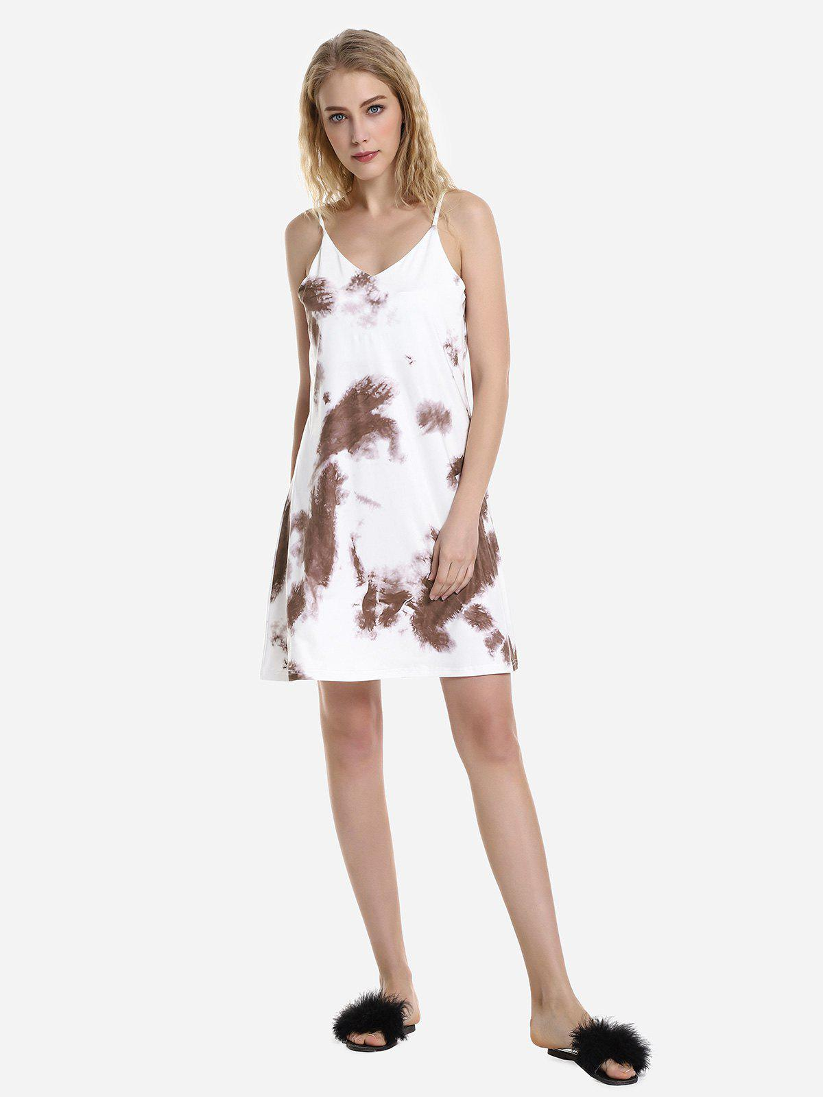 ZAN.STYLE V Neck Causal Slip Dress - BROWN S