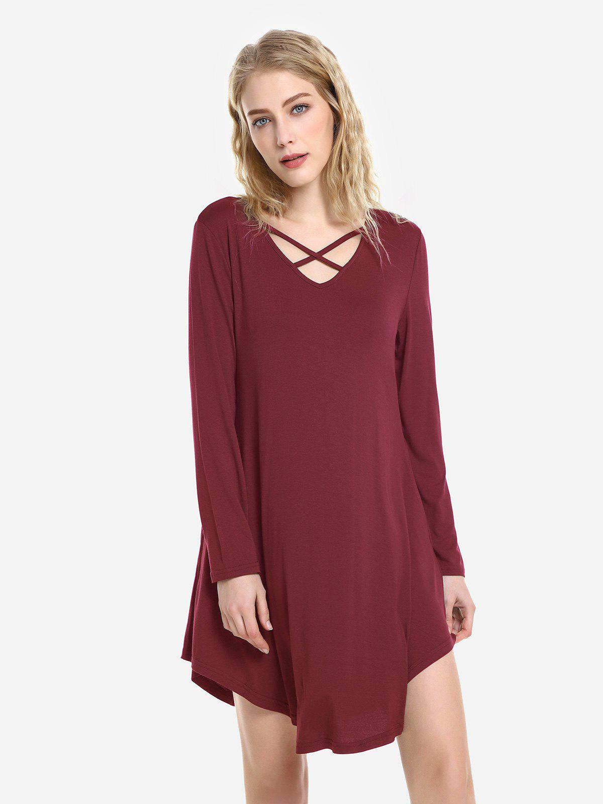 ZAN.STYLE Swing Dress - WINE RED XL
