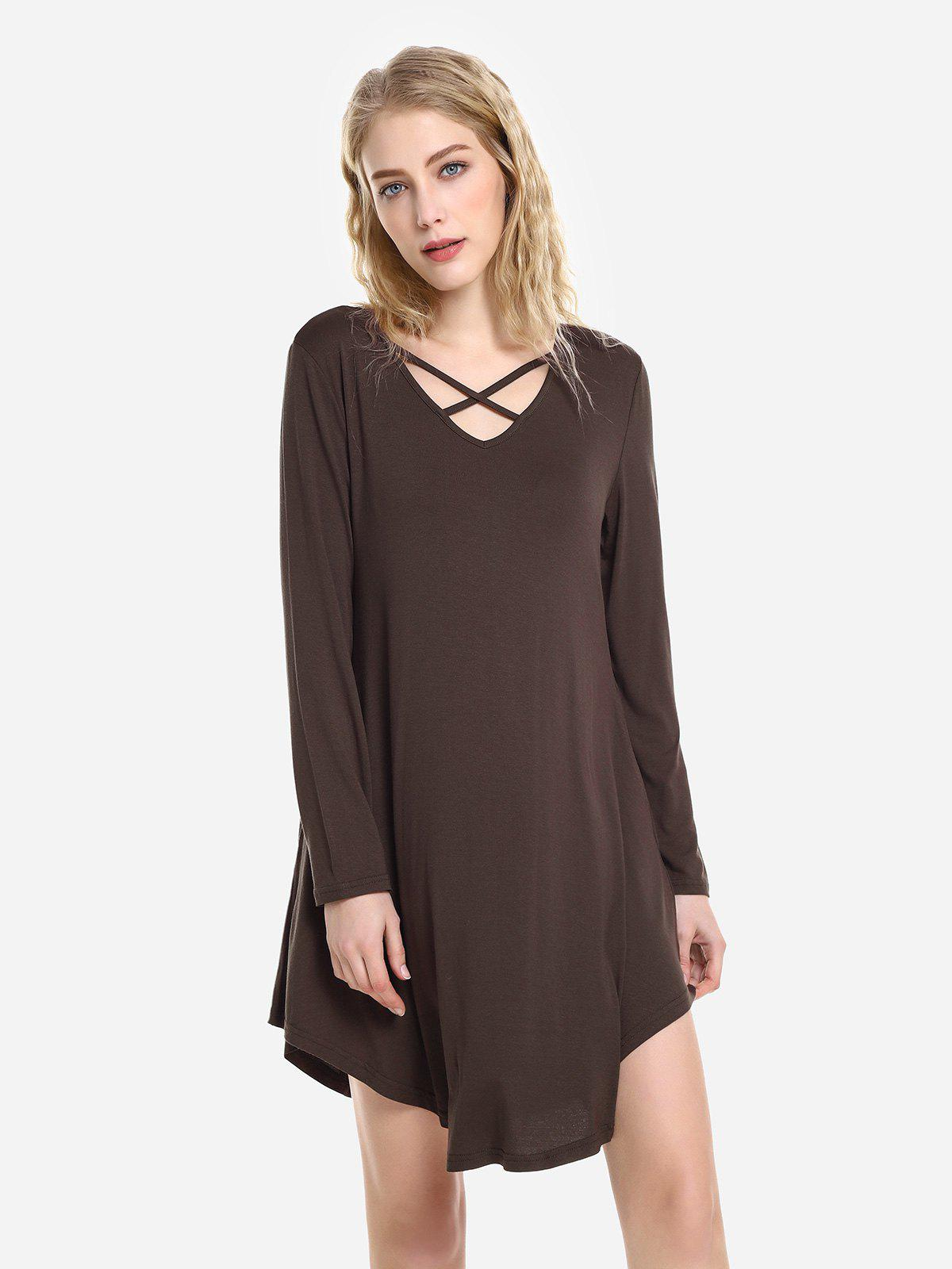 ZAN.STYLE Swing Dress - CAPPUCCINO XL