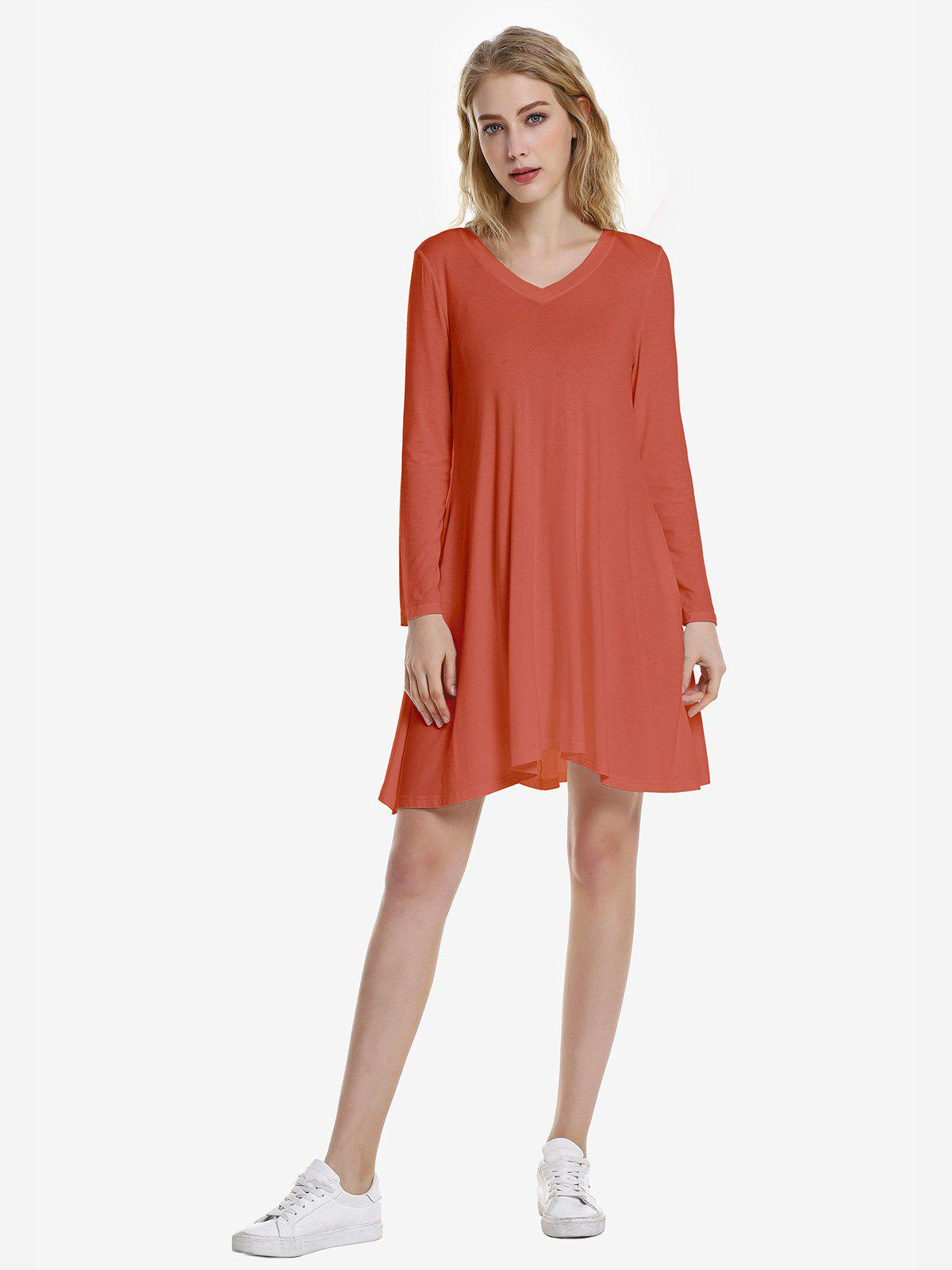ZAN.STYLE V Neck Dress - BRICK RED XL