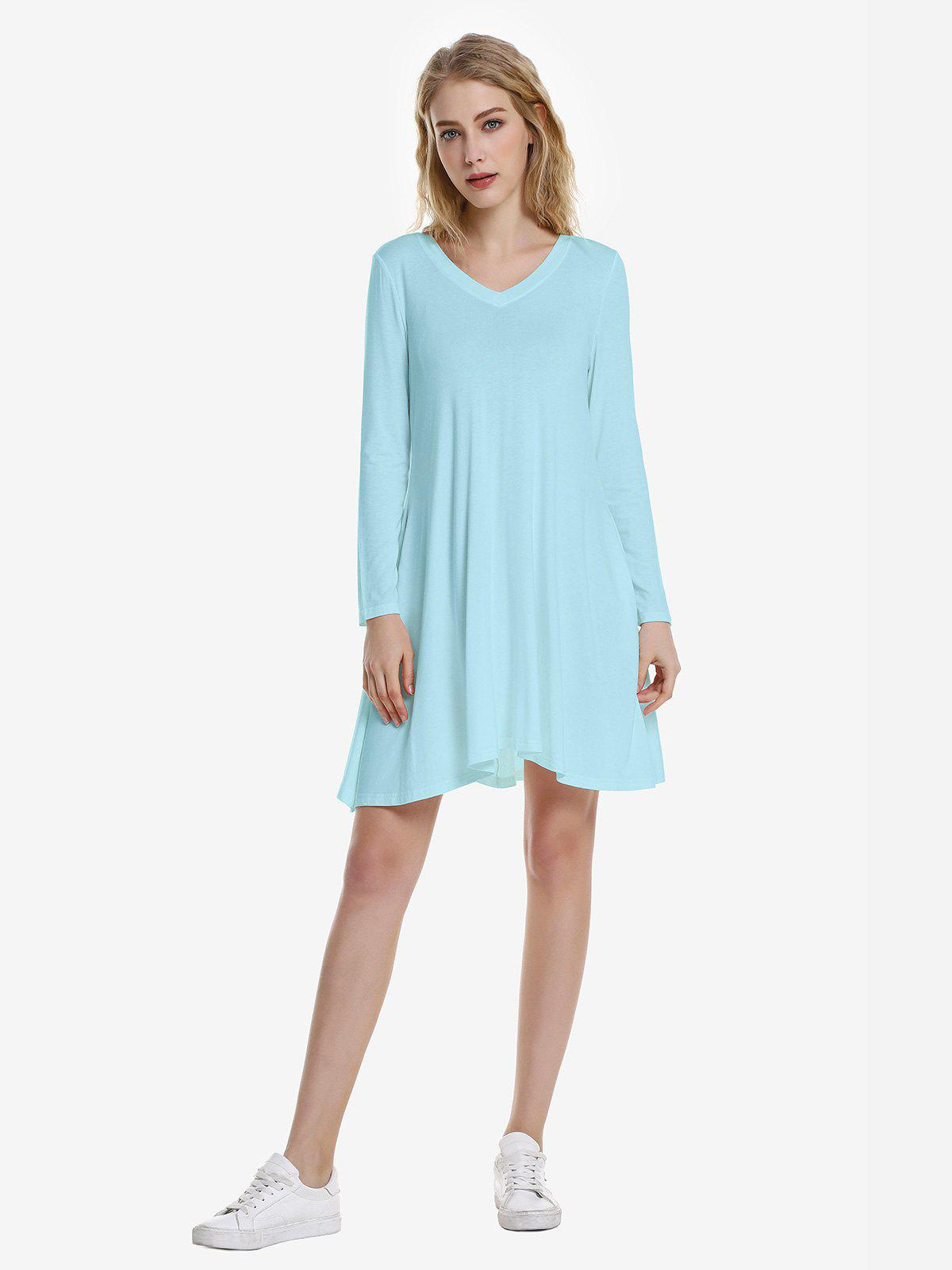 ZAN.STYLE V Neck Dress - WINDSOR BLUE M