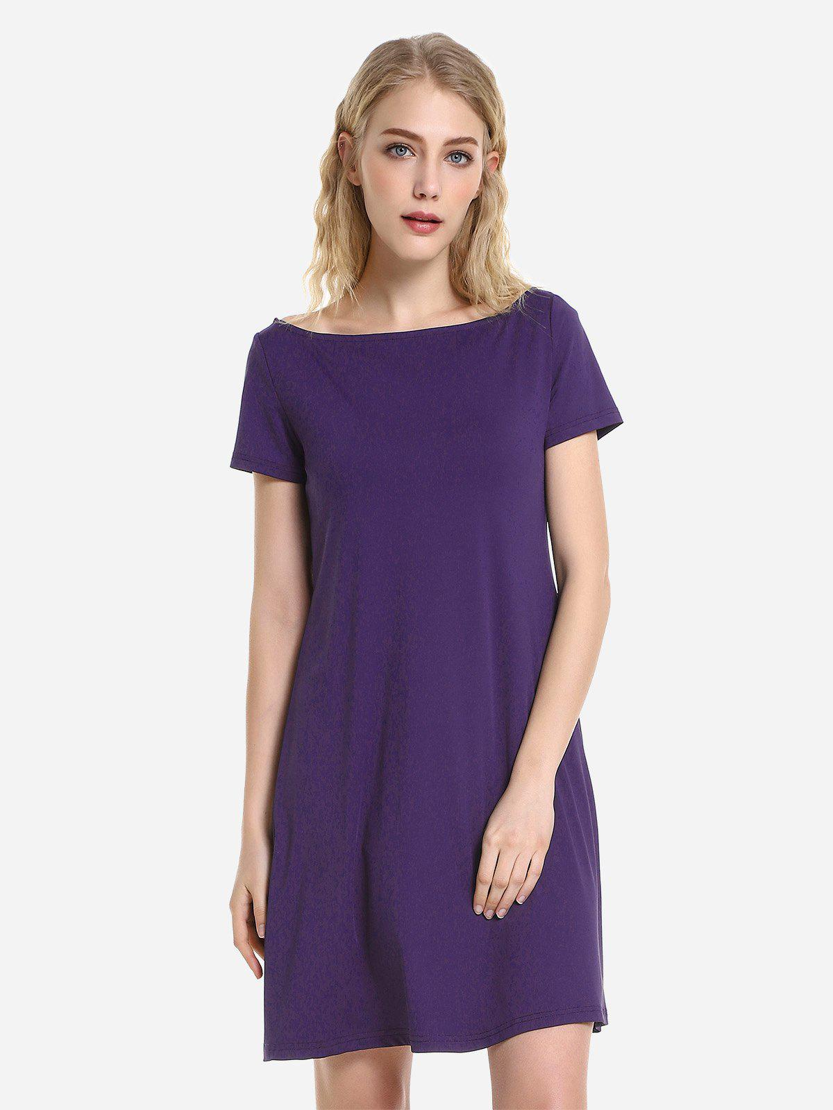 ZAN.STYLE Dolman T-Shirt Dress - DEEP PURPLE S