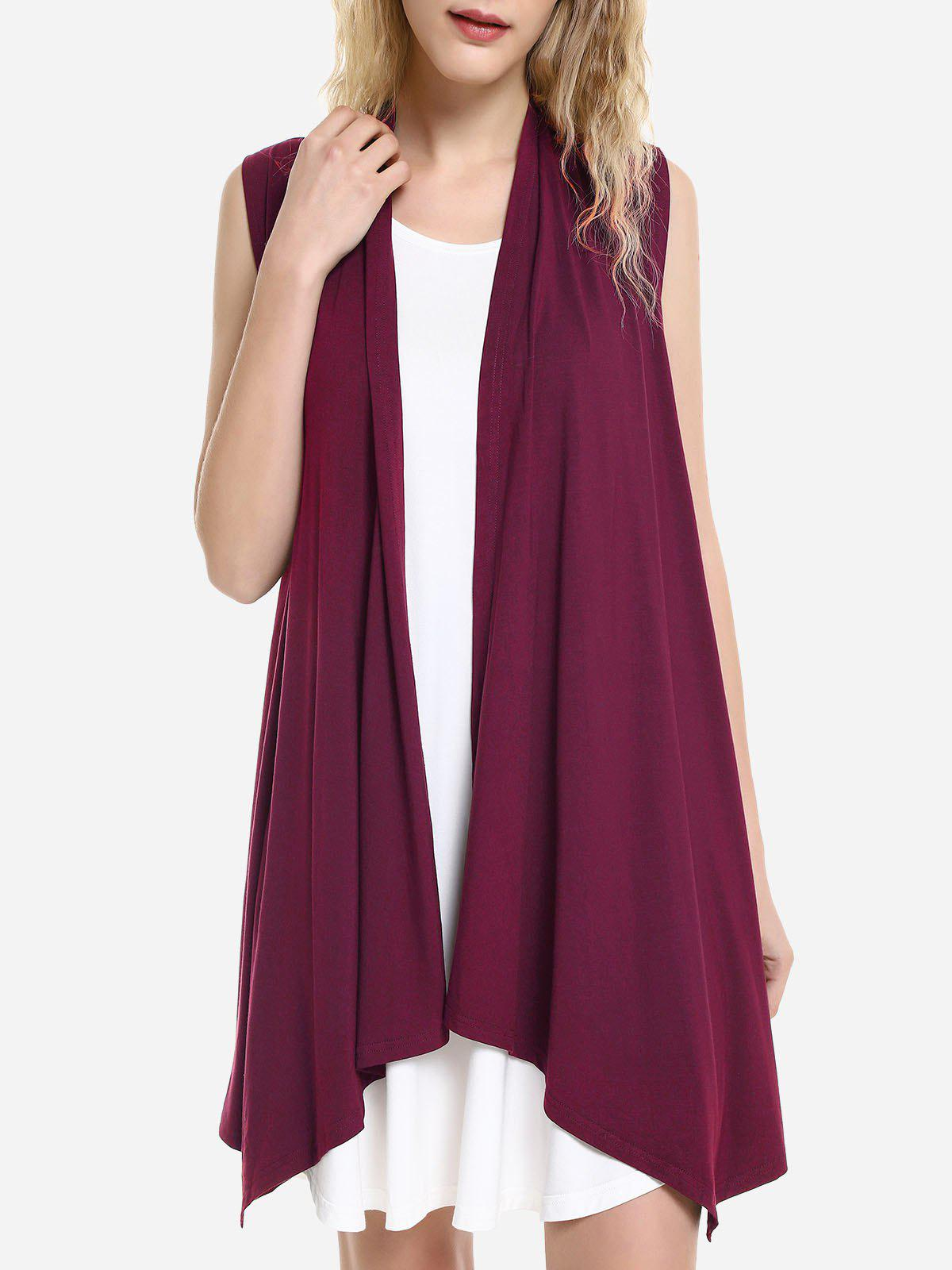 ZAN.STYLE Sleeveless Open Front Vest - DEEP RED L
