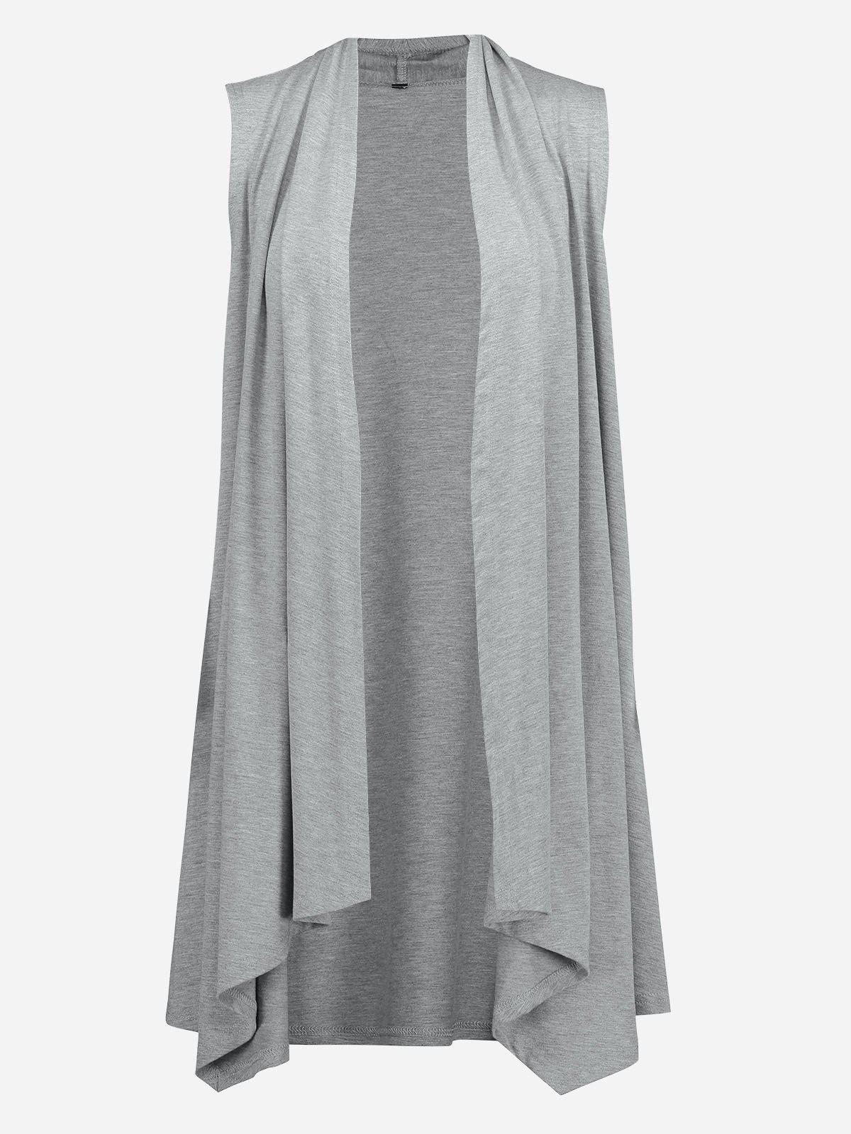 ZAN.STYLE Sleeveless Open Front Vest - LIGHT GRAY XL