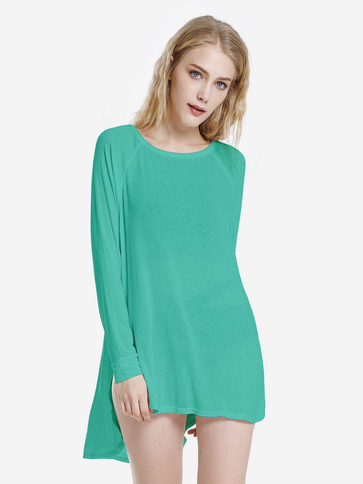 Oversized Round Neck Tee - LIGHT GREEN L