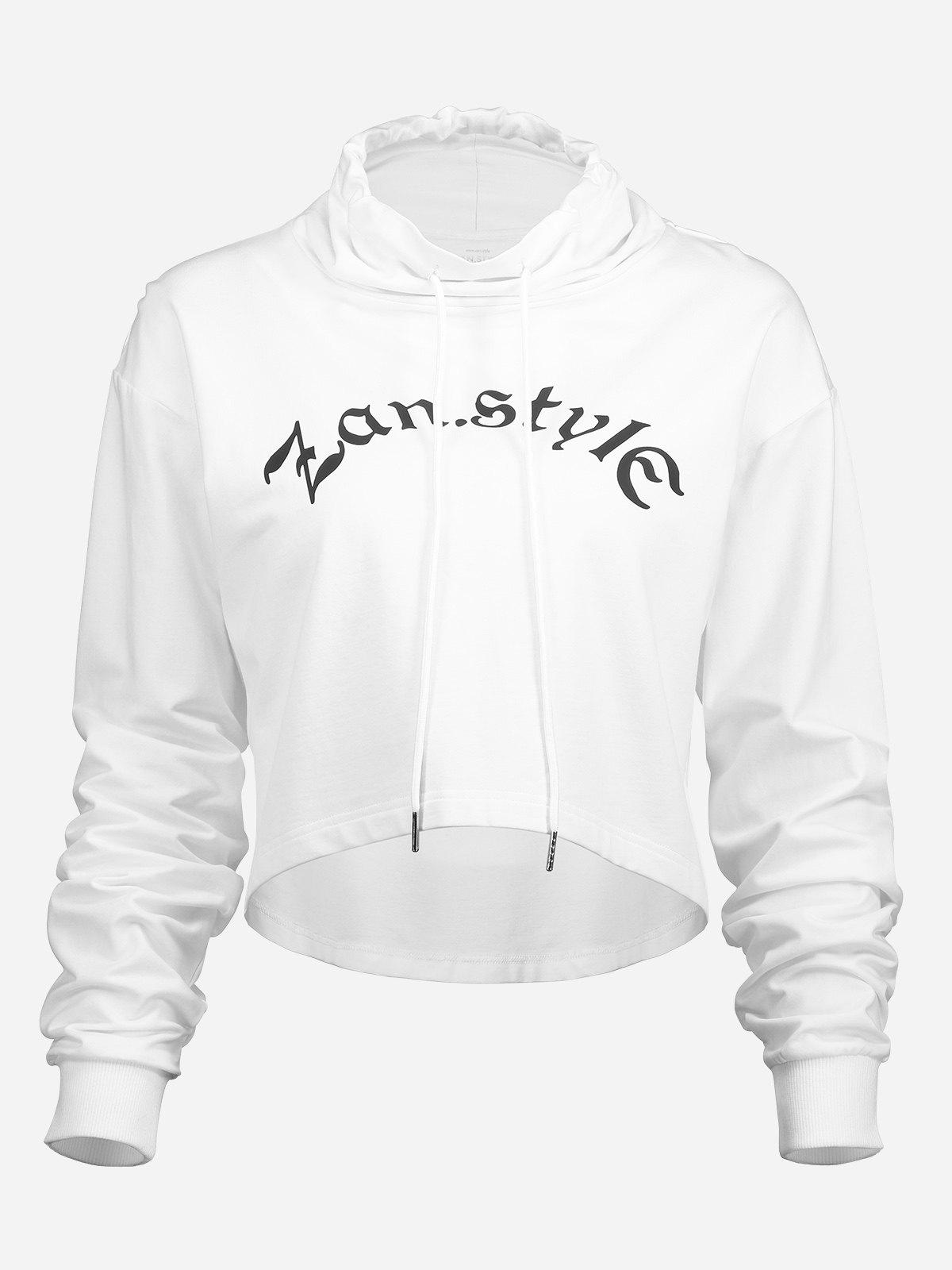 ZAN.STYLE Drawstring Cropped Hoodies
