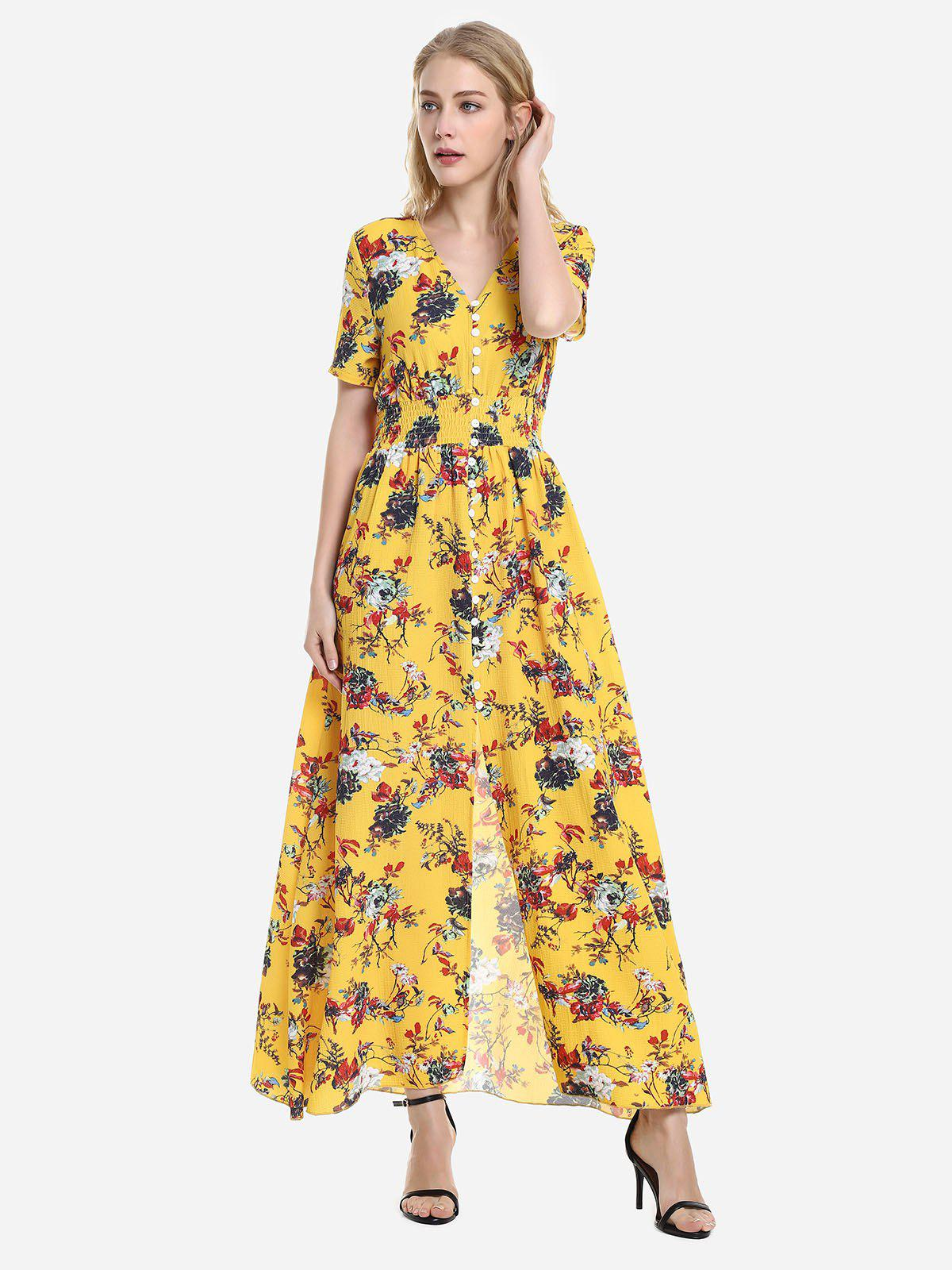 ZAN.STYLE Short Sleeve Floral Print V Neck Dress - YELLOW M