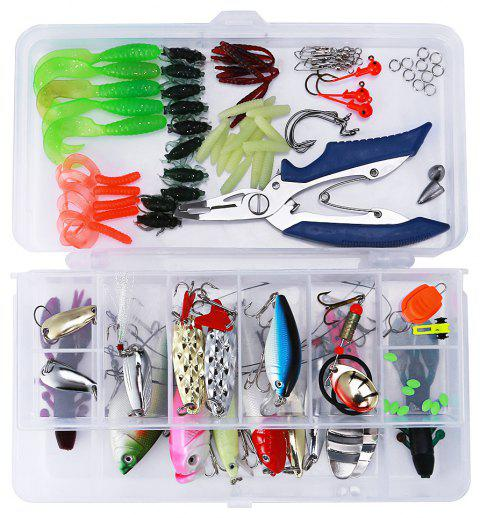 101pcs Bionic Lure Fishing Minnow Crank Spoon Soft Hard Bait Spinner Hook Tackle - COLORMIX
