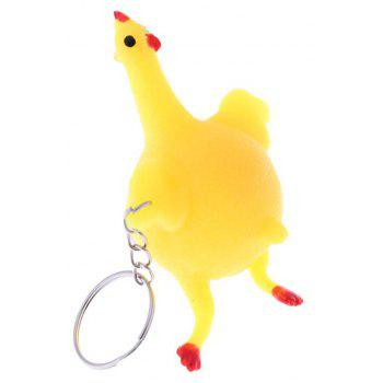 Cute Toys Vent Chicken Whole Egg Laying Hens Crowded Stress Ball Keychain - YELLOW