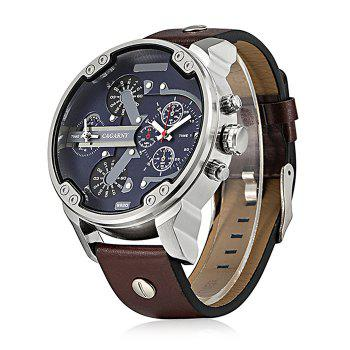 CAGARNY 6820 Date Function Male Quartz Watch Dual Movements Wristwatch with Decorative Sub-dials Leather Strap - SILVER / BROWN