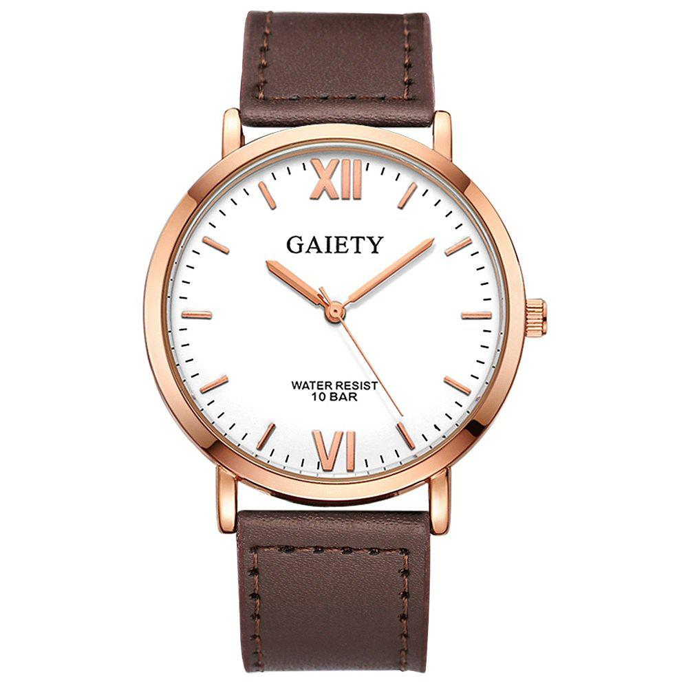 GAIETY  Men's Rose Gold Simple Leather Band Wrist Watch G032 - BROWN