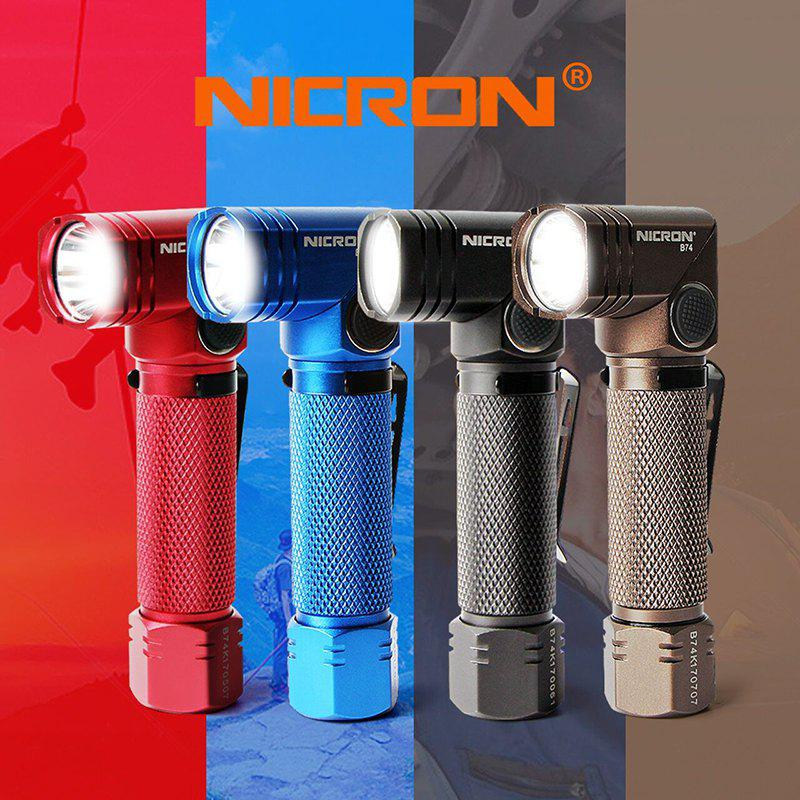 NICRON B74 CREE XP-L HD V5 480LM Mini Rechargeable Twist Flashlight - COBALT BLUE