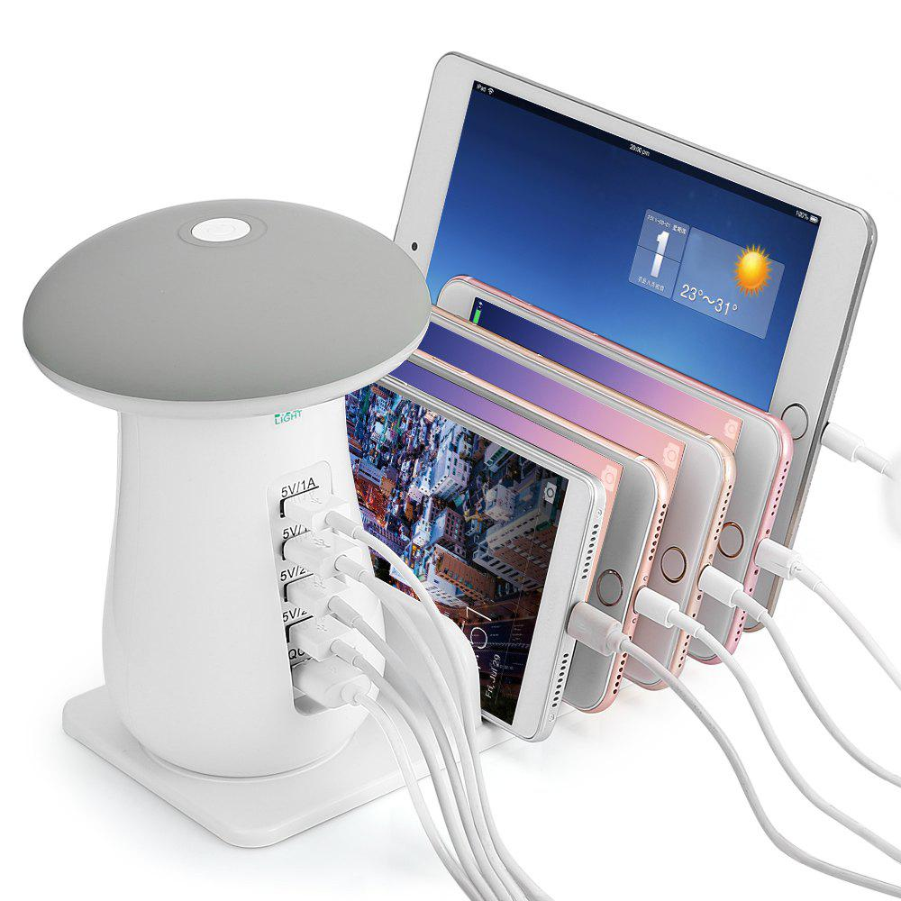 YWXLight YM - UD08 5 Port USB Charging Holder with Stand and Mushroom LED Lamp - WHITE