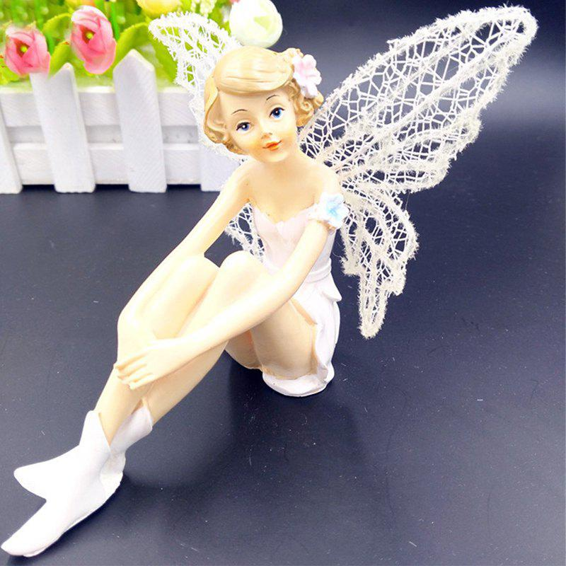 White Angel Flying Flower Fairy Ornaments Home Decoration Cartoon Gifts - PARCHMENT