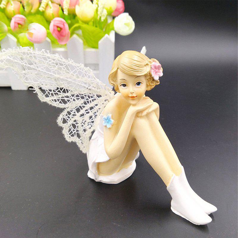 White Angel Flying Flower Fairy Ornaments Home Decoration Cartoon Gifts - LEMON CHIFFON