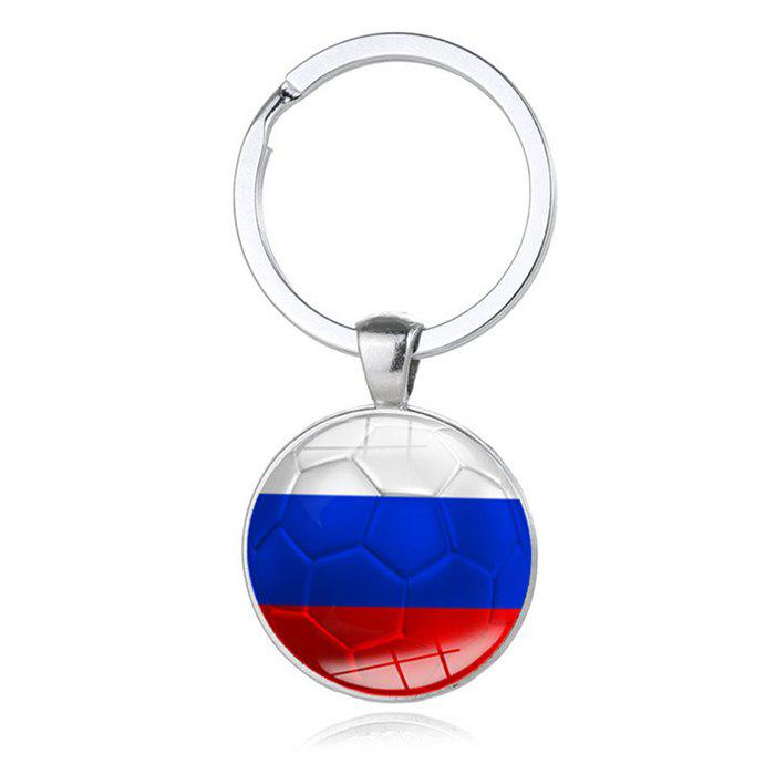 Germany France Spain Flag Design Keychain Alloy Handmade Souvenir Gift - SILVER RUSSIA