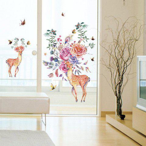 SK9273 Elegant Sika Deer Design Wall Sticker Removable PVC Decal Wallpaper for Decor - multicolor