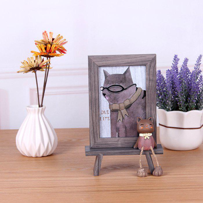 Creative Wooden 6 inch Cat Photo Frame - OAK BROWN