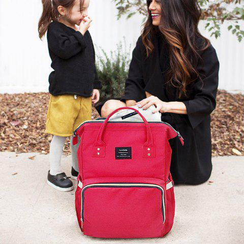 Wide Open Baby Diaper Bag Waterproof Travel Backpack for Mom Dad - ROSE RED