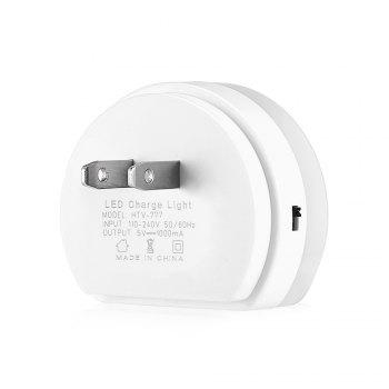 Alfawise HTV - 777 5V 1A Dual USB Ports Adapter Charger with Sensitive Light-sensor Night Light - WHITE US PLUG 1PC