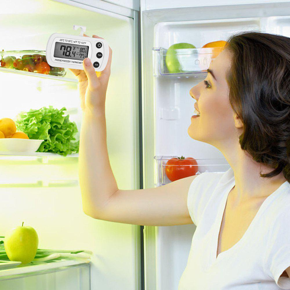 Kitchen Refrigerator Digital LCD Display Waterproof Thermometer with Hanging Hook - WHITE