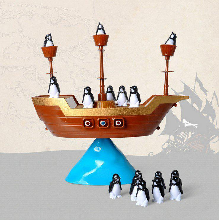Penguin Pirate Ship Balance Puzzle Board Game Parent Child Interactive Toy penguin trap on ice interactive family game