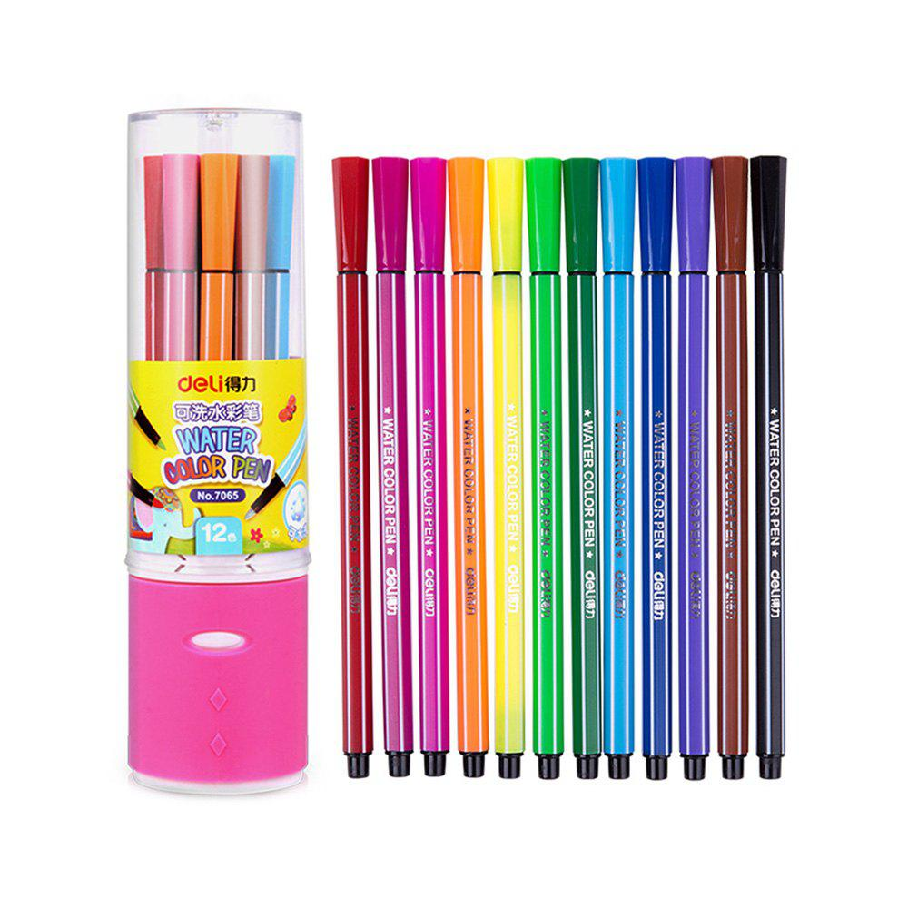 Deli 7065 Multi-color Washable Watercolor Pen 12PCs - COLORMIX