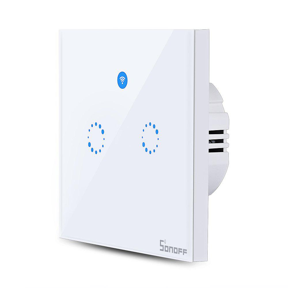 SONOFF T1 Double Gangs WiFi and RF 86 Type Smart Wall Touch Light Switch - WHITE