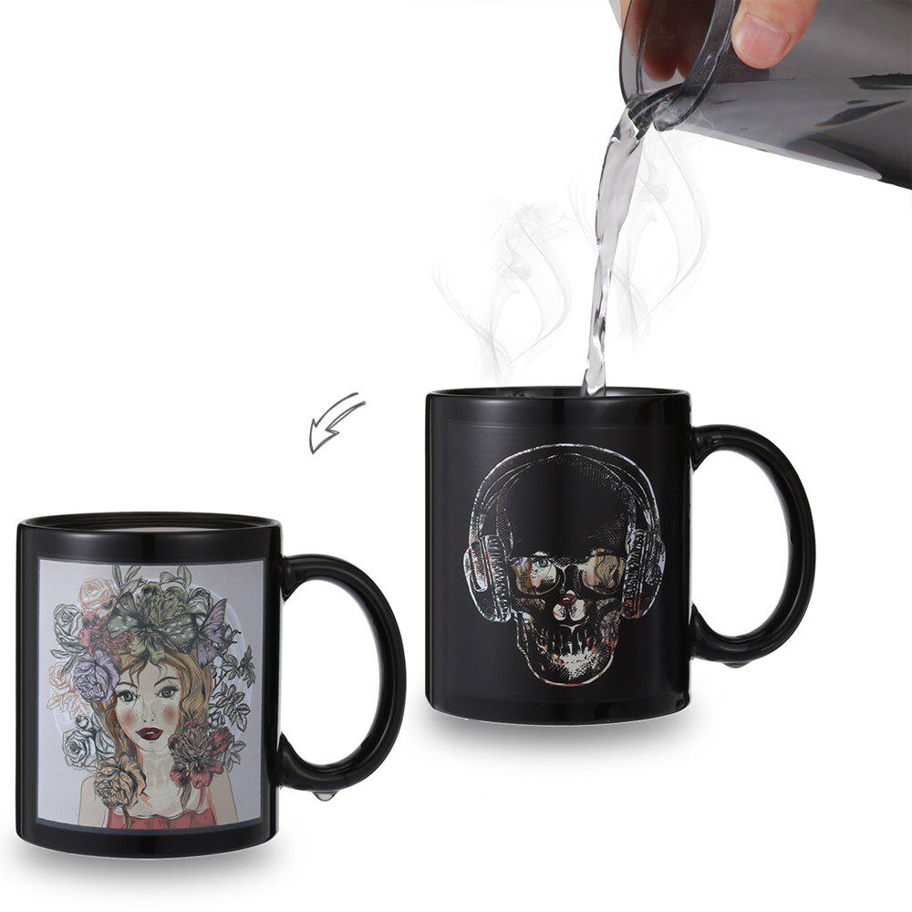 Skull- Beauty Face Heat Sensitive Mug Picture Changing Thermal Reaction Cup cozzine unicorn heat sensitive mug color changing cup 3pcs