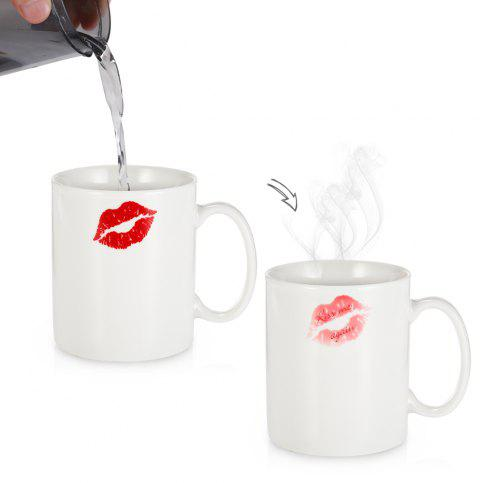 Red Lip Heat Sensitive Mug Color Changing Thermal Reaction Cup Gift for Lover - multicolor