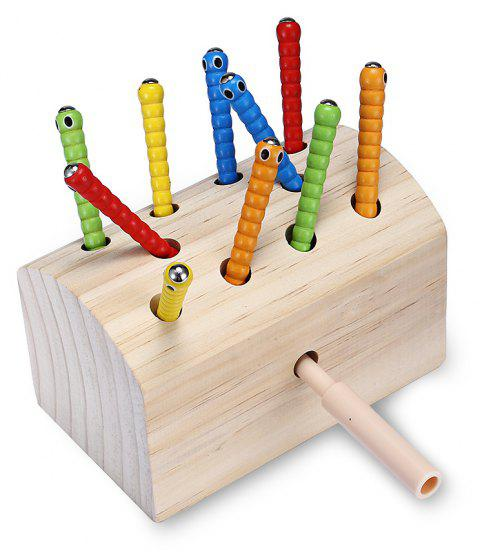 Creative Design Magnetic Wooden Puzzle Game Catch the Worm - BLANCHED ALMOND