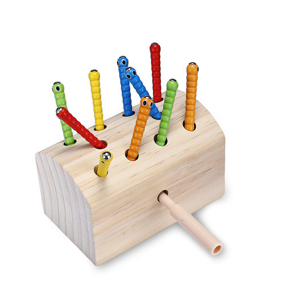 Creative Design Magnetic Wooden Puzzle Game Catch the Worm toy fishing rods fish magnetic game board wooden puzzle