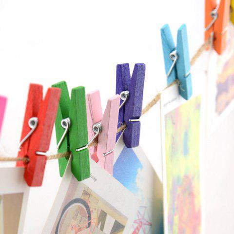 Creative Handcrafted Colorful Wooden Clip Set with String - COLORMIX