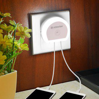 Alfawise HTV - 777 5V 1A Dual USB Ports Adapter Charger with Sensitive Light-sensor Night Light