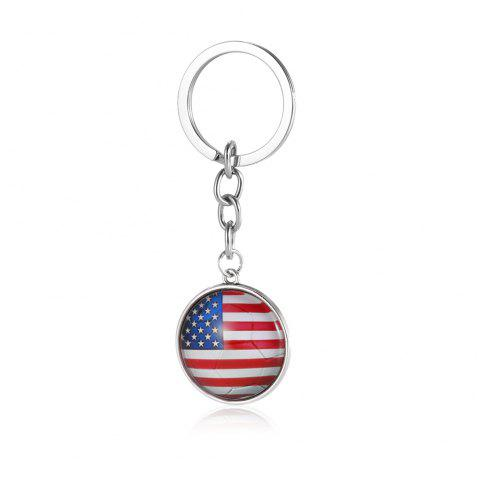 Football National Flag Model Keychain for 2018 FIFA World Cup Patriotic Key Ring Soccer Fans Travel Souvenir Car Accessories - SILVER USA FLAG