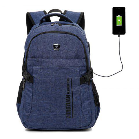 Men Durable Outdoor Backpack with USB Port - STEEL BLUE
