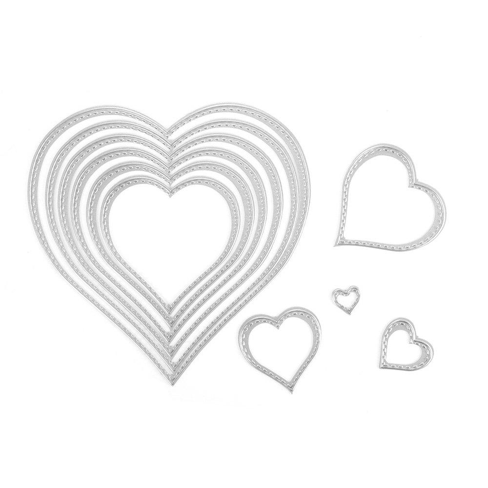 Heart Shape DIY Cutting Dies for Scrapbooking / Paper Card / Album 10PCS - SILVER