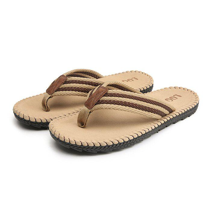 Men Casual Outdoor Beach Breathable Slippers - LIGHT KHAKI 40