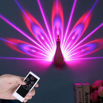 Remote Control Peacock Wall Projection LED Night Lamp - PINK