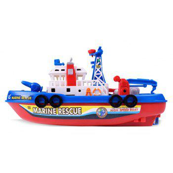 Marine Rescue Electric Music Light Water Spraying Ship Toy - multicolor