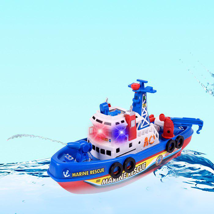 Marine Rescue Electric Music Light Water Spraying Fireboat Toy - BLUE ORCHID