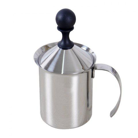 400ml Stainless Steel Double Milk Frother Foamer - SILVER
