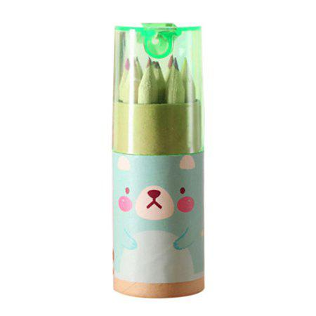 Colorful Cute Cartoon Pattern Drawing Pencils with Sharpener for Children - GREEN