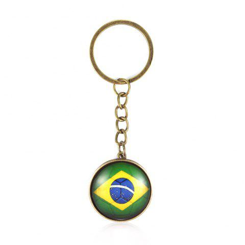 Football National Flag Model Keychain for 2018 FIFA World Cup Patriotic Key Ring Soccer Fans Travel Souvenir Car Accessories - BRONZE BRAZILIAN FLAG