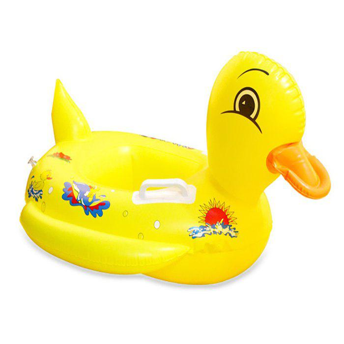 Inflatable Duck Swimming Seat Ring for Children with Handle Design - YELLOW